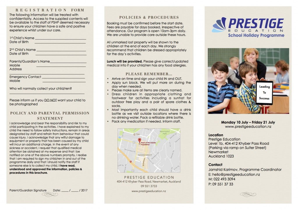 Holiday school brochure