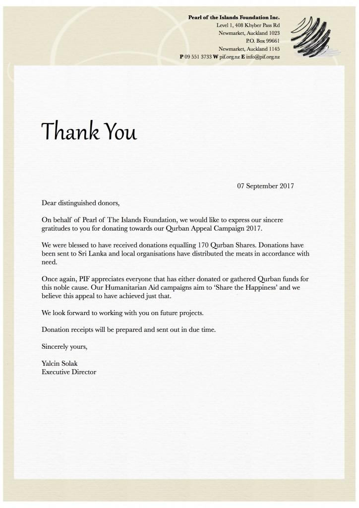 Qurban Campaign 2017 - Thank you